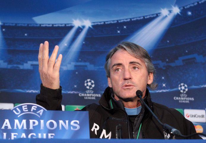 Roberto Mancini als coach van Manchester City.