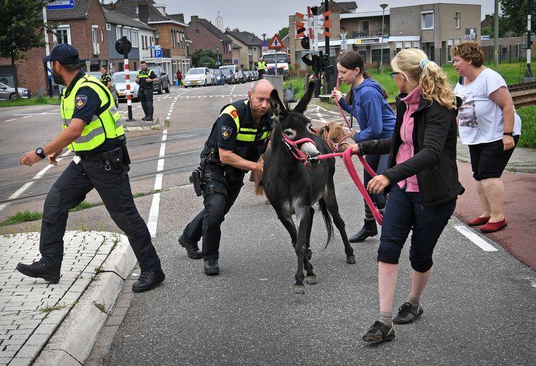 De politie helpt mee met de evacuaties in Bunde. Beeld Marcel van den Bergh