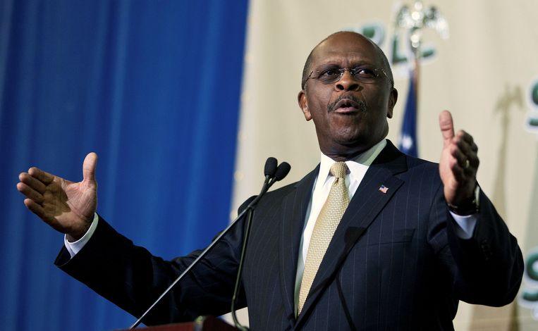 Herman Cain spreekt tijdens een Republikeinse conferentie in Charleston, South Carolina. Beeld REUTERS