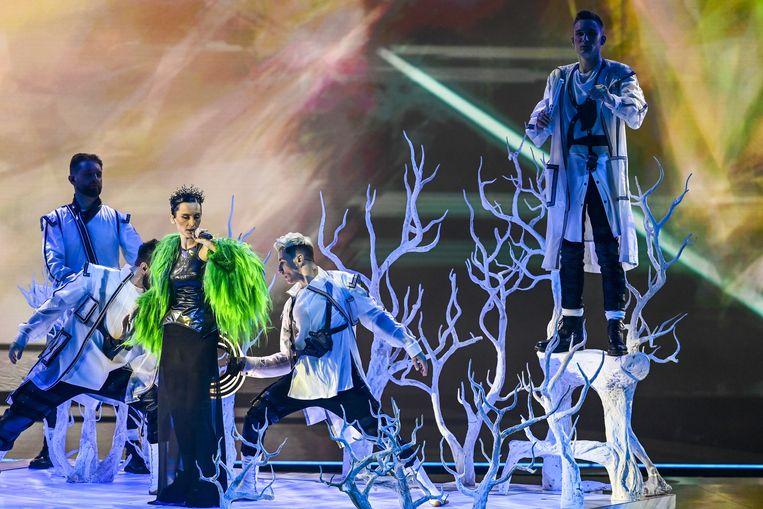 Oekraïne tijdens de eerste dress rehearsal van de eerste halve finale van het Eurovisiesongfestival. Beeld ANP
