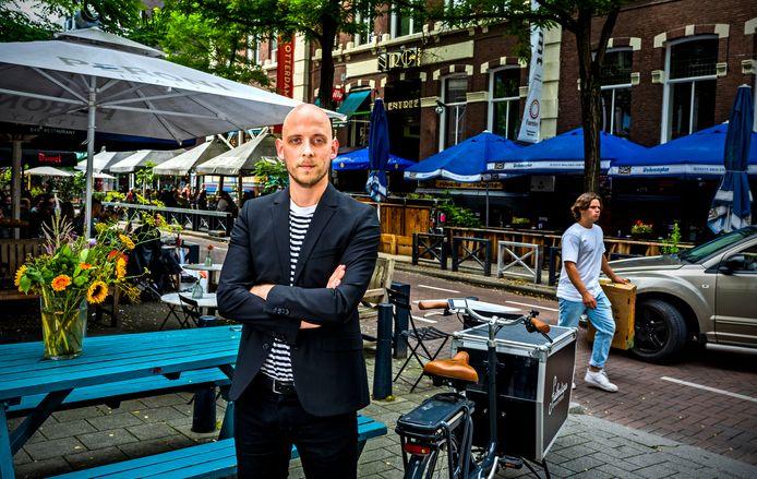 Jim Pedd in de Witte de Withstraat, in het centrum van Rotterdam.