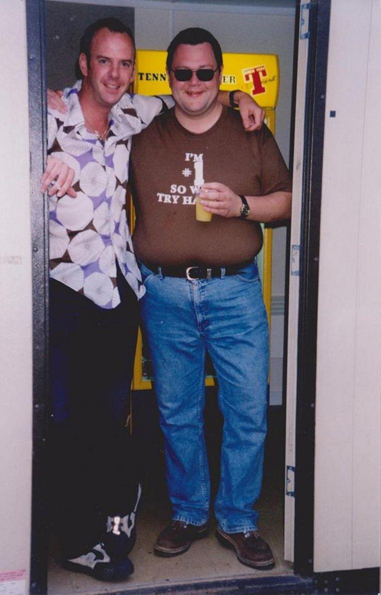 Norman Cook (Fatboy Slim) samen met Peter backstage.