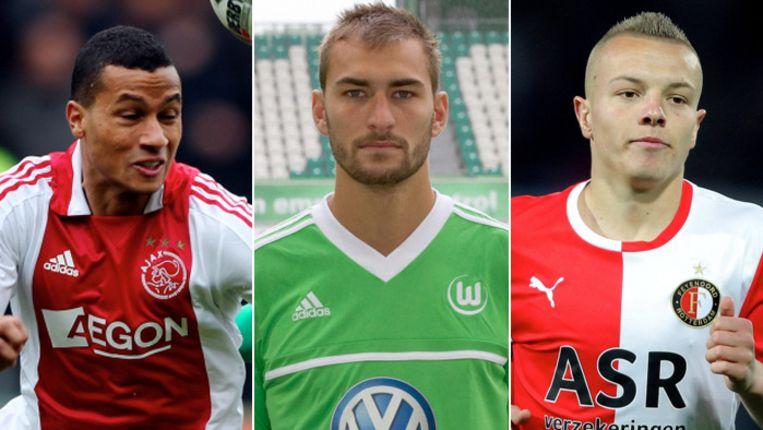 Ricardo van Rhijn, Bas Dost en Jordy Clasie (vlnr) zitten in de voorlopige selectie van Louis van Gaal. Beeld pro shots