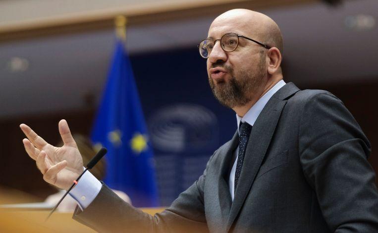 Vorige week sprak de voorzitter van de Europese Raad Charles Michel het Europese parlement toe.  Beeld AP