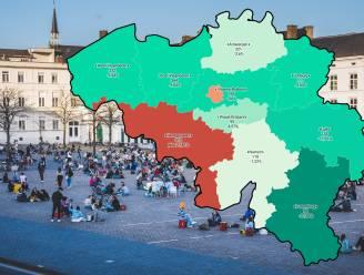 IN KAART. Besmettingen dalen in alle provincies, alleen niet in Henegouwen en Brussel. Bekijk hier de situatie in uw regio
