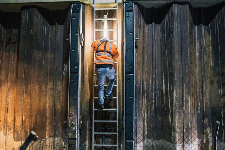 Matroos Emil gaat via de trap naar de kade in Nijmegen. Beeld Marcel Wogram