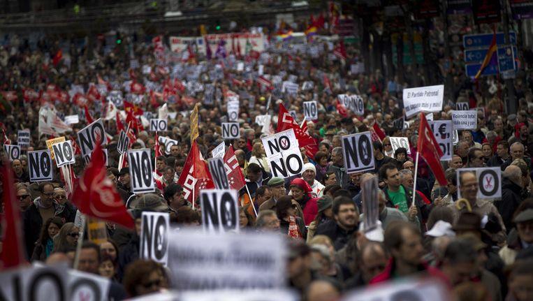Demonstratie in de Spaanse hoofdstad Madrid tegen bezuinigingen, 29 april 2012. Beeld ap
