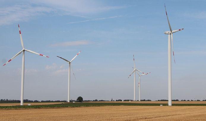 Windmolenpark  net over de grens in Duitsland.