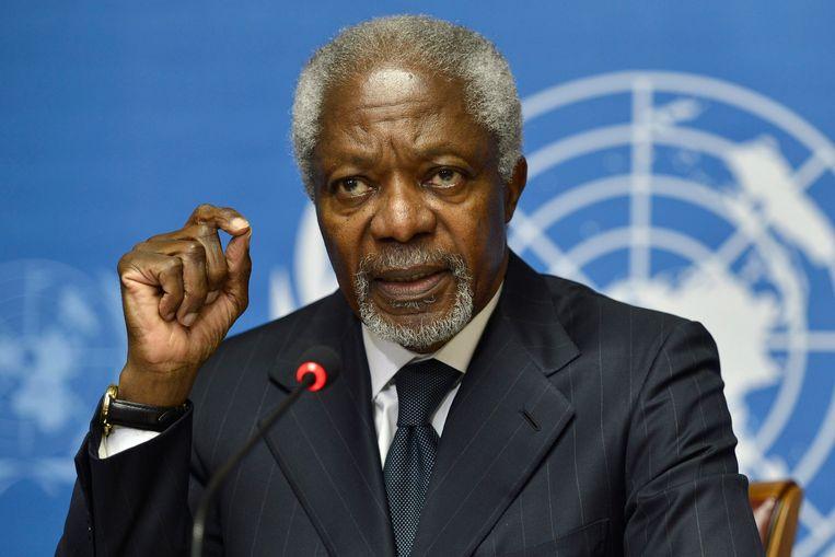 Kofi Annan op het Europees hoofdkwartier van de VN in Zwitserland, in 2012.
