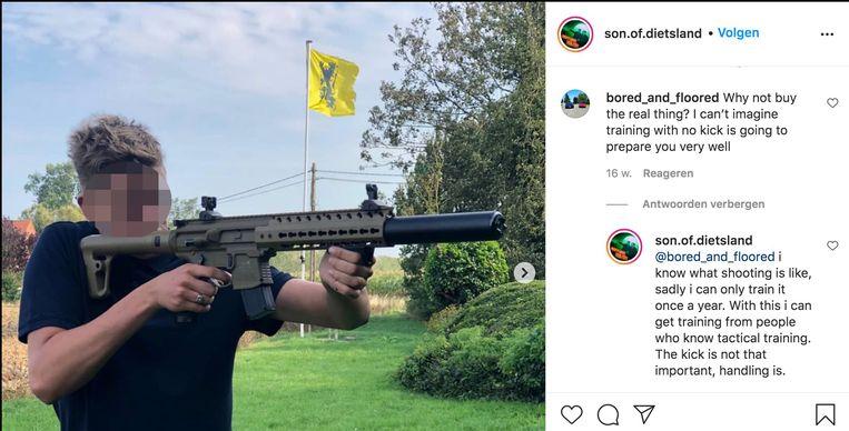 Gaetan P., een trouw lid van Schild & Vrienden, zit op Instagram onder de schuilnaam 'Son of Dietsland'.  Beeld RV