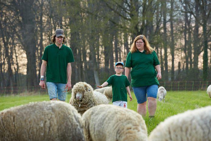Schaapsherder Herbert Nijkamp tussen zijn schapen samen met vriendin Janny de Vries & haar zoon Keano Venema.
