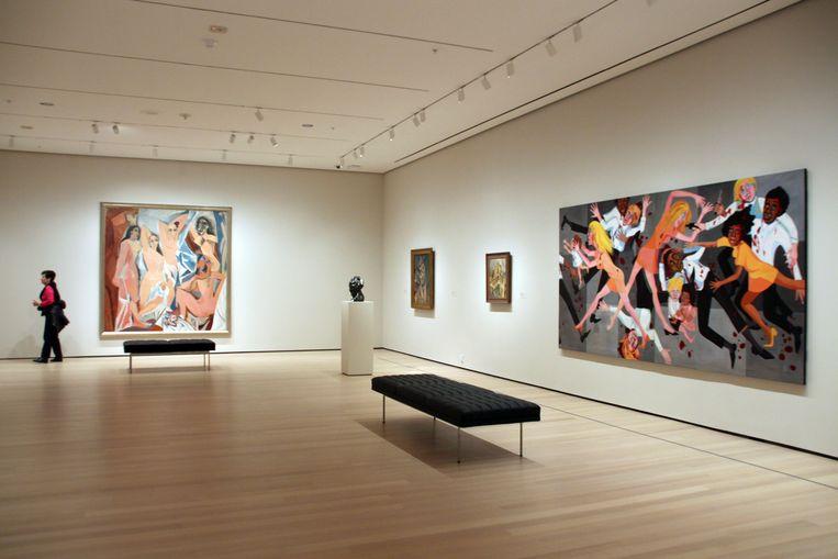 Het werk Die van Faith Ringgold naast Les Demoiselles d'Avignon van Pablo Picasso in 2019.  Beeld DPA