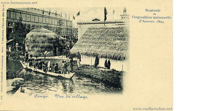 Een 'souvenirkaart' van het Congolese dorp dat werd opgetrokken voor het Antwerpse Museum voor Schone Kunsten tijdens de Expo van 1894