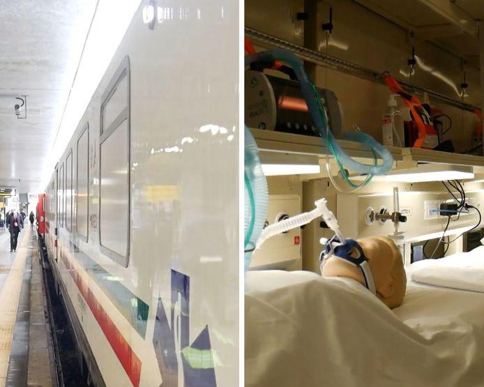 Ce train médical, équipé de tous les instruments nécessaires pour soigner les malades à bord, peut contenir jusqu'à 21 patients nécessitant des soins intensifs.
