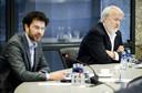 Jaap van Delden en Jaap van Dissel van het RIVM tijdens een technische briefing over de ontwikkelingen rondom het coronavirus in de Tweede Kamer.