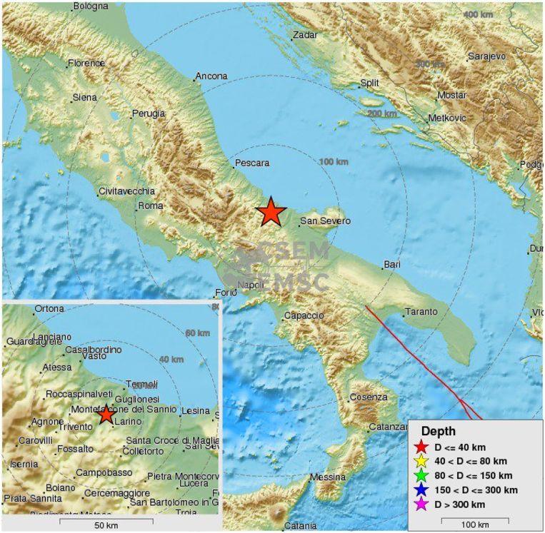 De schok was ook voelbaar in de steden Rome, Napels en Bari. Beeld Twitter EMSC