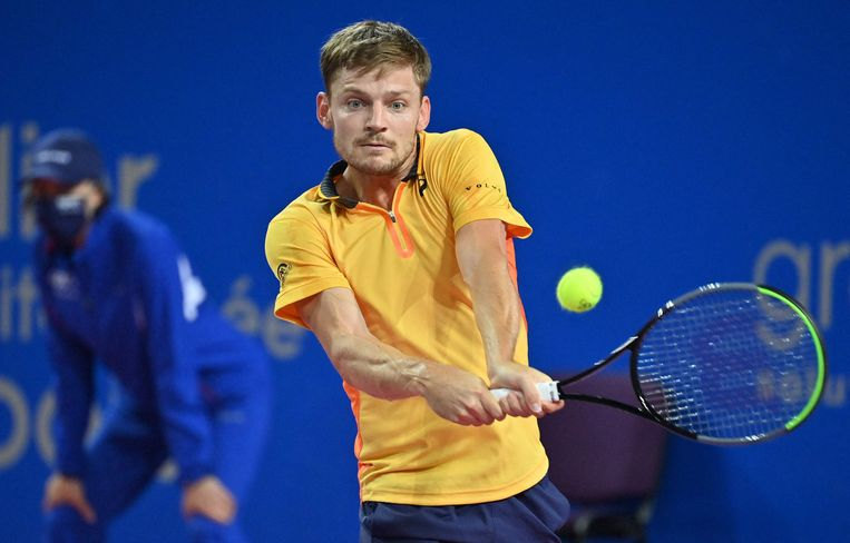 David Goffin retourneert de bal in Montpellier. Beeld AFP