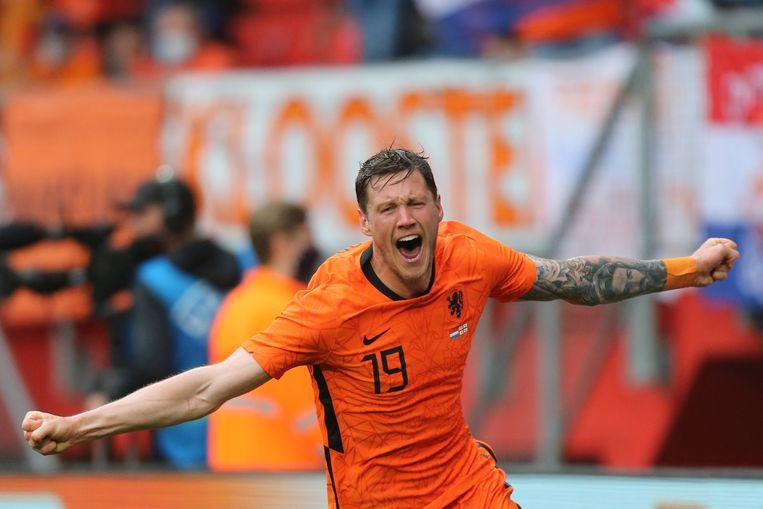 Wout Weghorst na zijn doelpunt tegen Georgië, 6 juni 2021. Beeld AFP