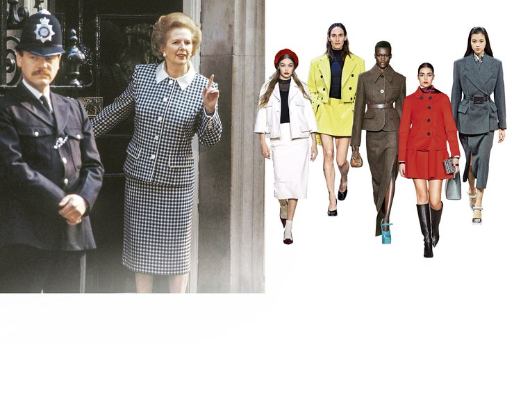 Margaret Thatcher, en daarnaast, van links naar rechts: Marc Jacobs, Eckhaus Latta, Miu Miu, Oscar De La Renta en Prada.  Beeld rv