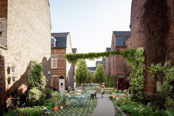 Toekomstbeeld: De Cité de Hemptinne krijgt groenslingers en zeer veel groen.