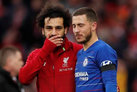 Mo Salah en Eden Hazard in een onderonsje.