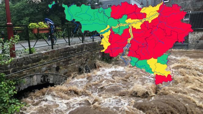 """Steeds meer Waalse waterlopen bereiken alarmdrempels, ook in Limburg, Antwerpen en Vlaams-Brabant """"kritieke overstromingen"""" mogelijk"""
