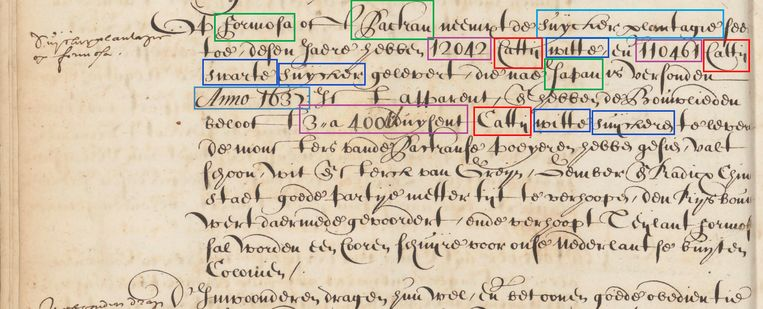 Voorbeeld van een antwoord op de zoekopdracht 'hoeveel suiker werd er tussen 1620 en 1650 geproduceerd in gebieden onder VOC-bestuur'? Beeld Nationaal Archief