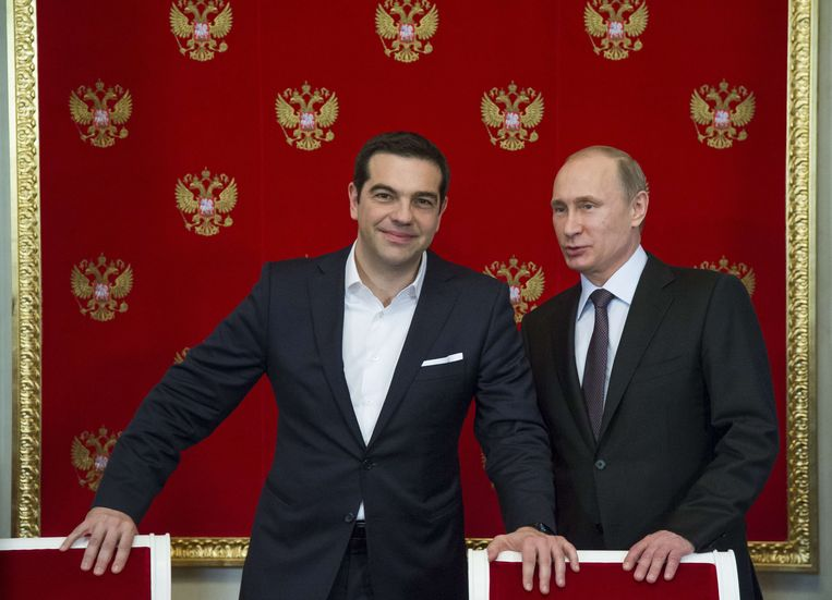 Tsipras en Poetin ontmoetten elkaar onder andere al in april. Beeld AFP
