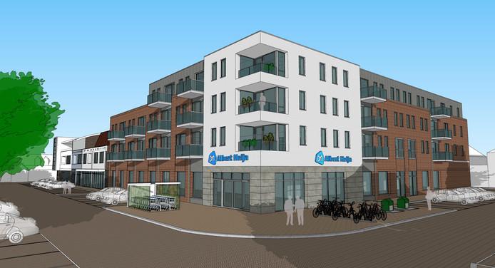 Een impressie van de nieuwe Albert Heijn met appartementen op Hof-Noord.