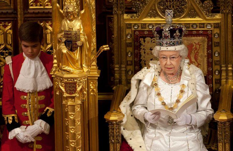 De Britse koningin Elizabeth tijdens haar Queen's Speech in 2012. Beeld REUTERS