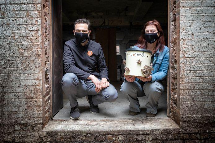 MECHELEN Koffiegruis krijgt een tweede leven in de Mechelse oesterzwamkwekerij van Stefan Van Ouytsel en Berit Van den Bussche in de Potterij.
