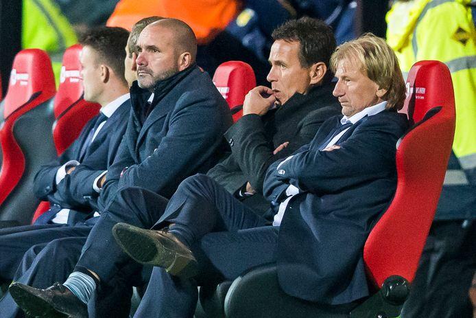 Marco Koorman (l) en Leon Vlemmings (m) werden ontslagen bij nGA Eagles. Assistent trainer Michel Boerebach (r) mag aanblijven.