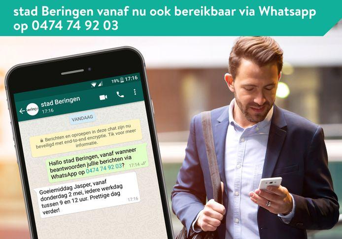 Je kan het nummer niet bellen of sms'en, maar de stad is wel te bereiken via WhatsApp elke weekdag tussen 9 en 12 uur.