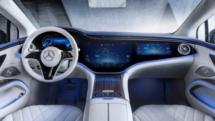 Het interieur van de Mercedes EQS.