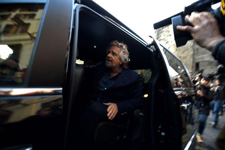 Beppe Grillo, leider van de Vijfsterrenbeweging. Beeld AFP