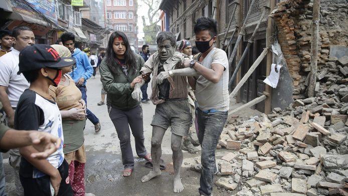 De verwoestingen in Kathmandu in Nepal na de aardbeving.