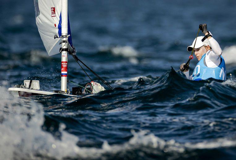 Marit Bouwmeester onderweg in de afsluitende olympische race in de Laser Radial. Beeld ANP