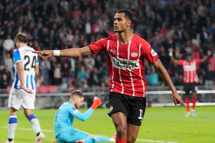 Cody Gakpo na zijn goal voor PSV tegen Real Sociedad, twee weken geleden.