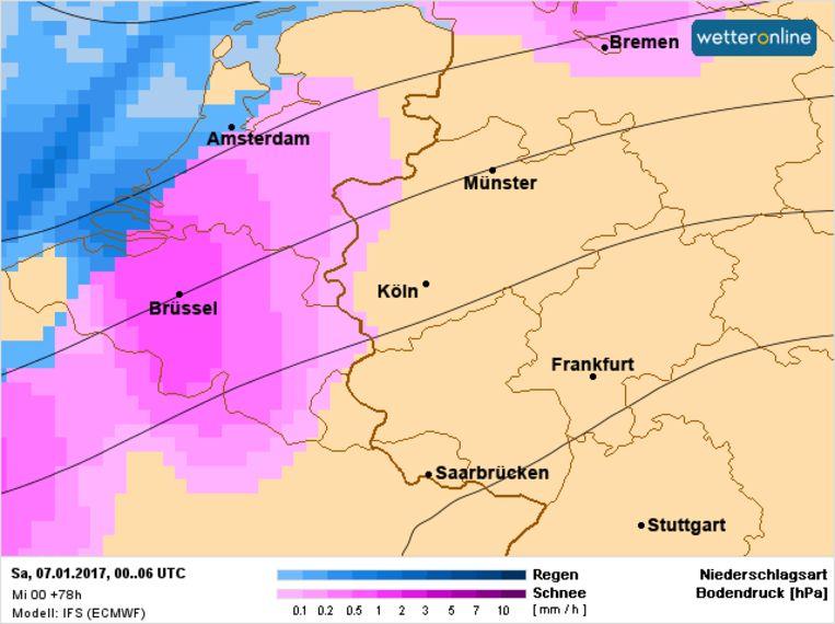 Sneewval bereikt zaterdagochtend het centrum van België. Beeld Wetteronline.de