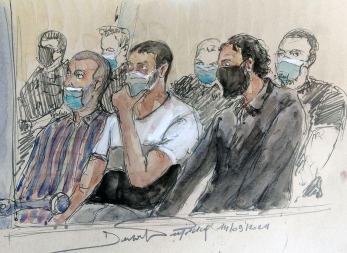 Beschuldigden Mohamed Amri, Mohamed Abrini en Salah Abdeslam.