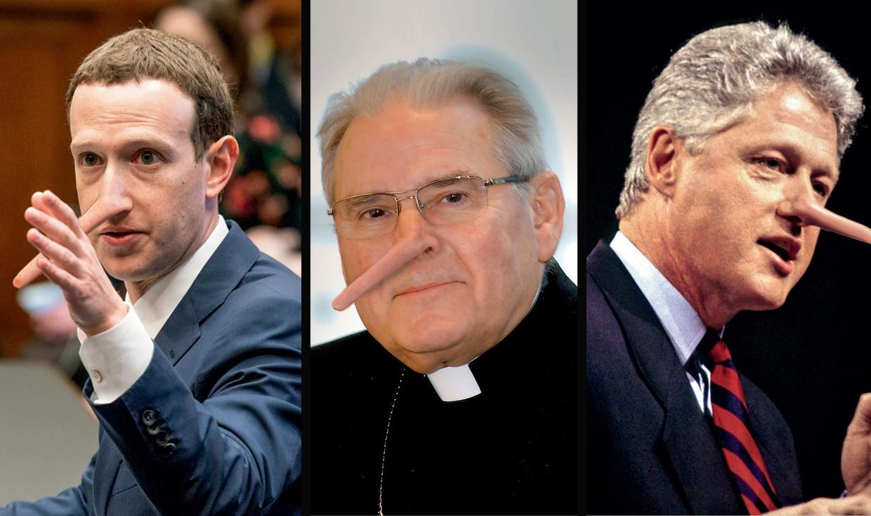 Mark Zuckerberg, Roger Vangheluwe, Bill Clinton Beeld Humo