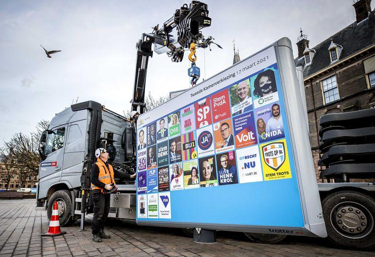Medewerkers plaatsen een verkiezingsbord voor de Tweede Kamerverkiezingen op het Buitenhof.  Beeld ANP