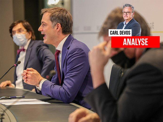 Premier Alexander De Croo (Open Vld) tijdens de persconferentie na afloop van het Overlegcomité. (05/03/2021)