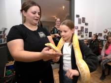Doesburgse kinderen staan oog in oog met tijgerpython King tijdens dierendagshow