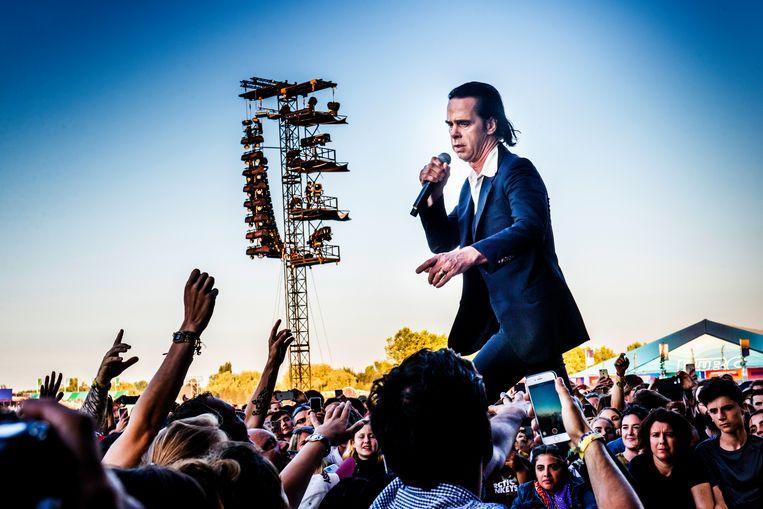 Nick Cave op Rock Werchter, afgelopen zomer. Beeld Stefaan Temmerman