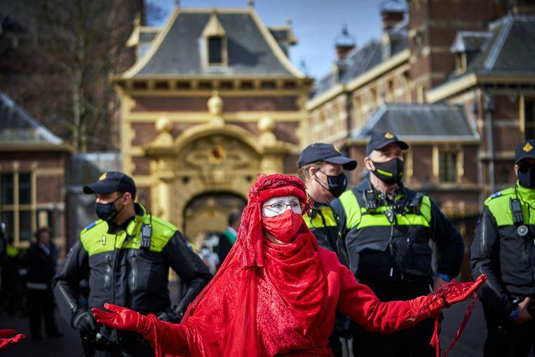 De demonstratie vlak bij het Binnenhof in Den Haag. Beeld ANP