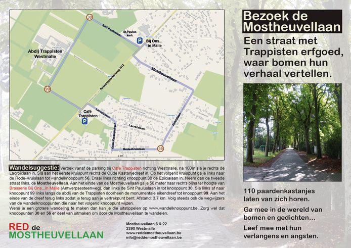 De flyer bevat een wandelroute langs de Abdij der Trappisten en de Mostheuvellaan