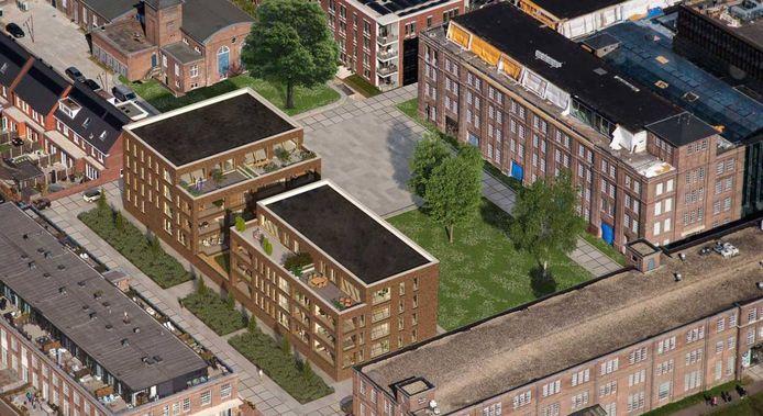 De appartementen op KVL-Centraal zijn in de verkoop gegaan. Er was veel kritiek op het volbouwen van de open ruimte tussen het voormalige U-gebouw (rechts), het hoofdgebouw (onder), de lakfabriek (linksonder) en het ketelhuis (boven).