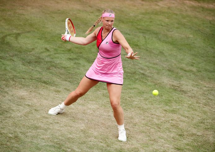 Kiki Bertens in actie tegen Petra Kvitova.