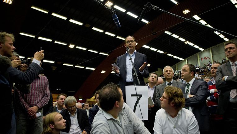 Oud-mede-onderhandelaar Ab Klink zaterdag aan het woord tijdens het CDA-congres in Arnhem in 2010. Beeld ANP
